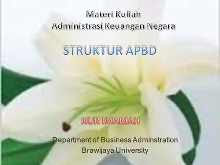 Department of Business Adminstration Brawijaya University.