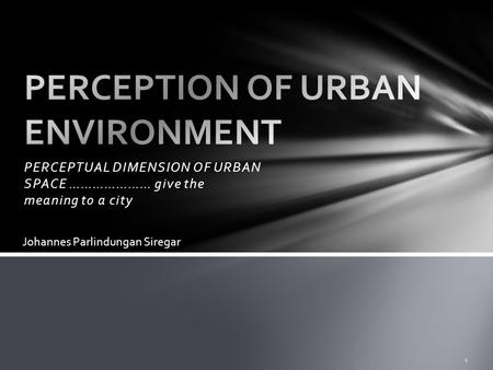 PERCEPTUAL DIMENSION OF URBAN SPACE ………………… give the meaning to a city 1 Johannes Parlindungan Siregar.