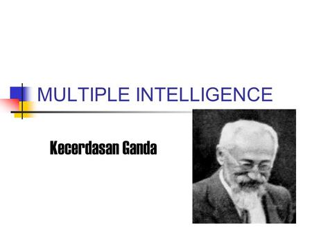 MULTIPLE INTELLIGENCE Kecerdasan Ganda. Multiple Intelligence Howard Gardner menyatakan kecerdasan adalah suatu kemampuan untuk memecahkan masalah atau.