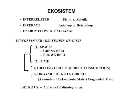 EKOSISTEM INTERRELATED Biotik x Abiotik INTERACT Autotrop x Heterotrop ENERGY FLOW & EXCHANGE FUNGSI INTERAKSI TERPISAH OLEH (1) SPACE: - GRENN BELT -
