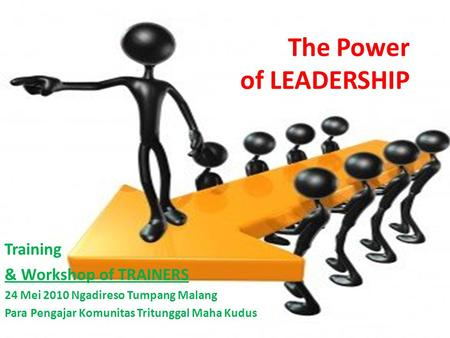 The Power of LEADERSHIP Training & Workshop of TRAINERS 24 Mei 2010 Ngadireso Tumpang Malang Para Pengajar Komunitas Tritunggal Maha Kudus.