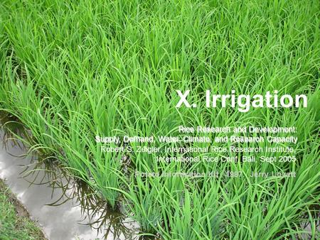 X. Irrigation Rice Research and Development: Supply, Demand, Water, Climate, and Research Capacity Rice Research and Development: Supply, Demand, Water,