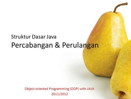 Struktur Dasar Java Percabangan & Perulangan Object-oriented Programming (OOP) with JAVA 2011/2012.