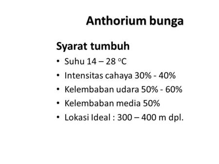 Anthorium bunga Syarat tumbuh Suhu 14 – 28 o C Intensitas cahaya 30% - 40% Kelembaban udara 50% - 60% Kelembaban media 50% Lokasi Ideal : 300 – 400 m dpl.
