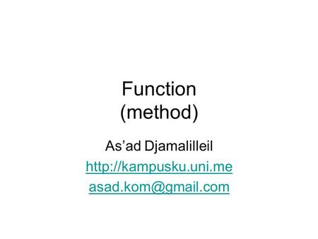 Function (method) As'ad Djamalilleil
