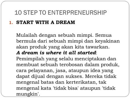 10 STEP TO ENTERPRENEURSHIP