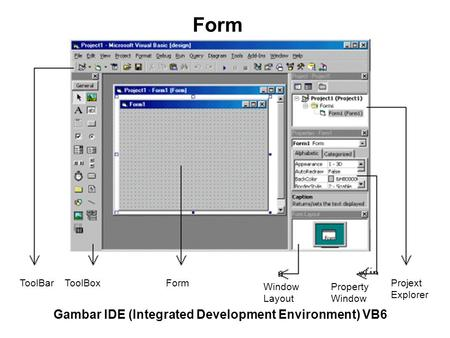 ToolBarToolBoxForm Window Layout Property Window Projext Explorer Gambar IDE (Integrated Development Environment) VB6 Form.