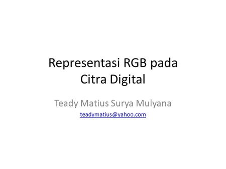 Representasi RGB pada Citra Digital