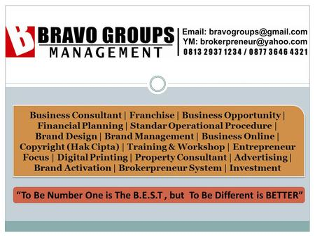 Business Consultant | Franchise | Business Opportunity | Financial Planning | Standar Operational Procedure | Brand Design | Brand Management | Business.