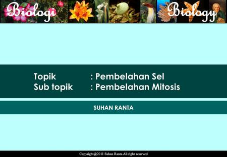 Suhan Ranta All right reserved Topik : Pembelahan Sel Sub topik: Pembelahan Mitosis SUHAN RANTA.
