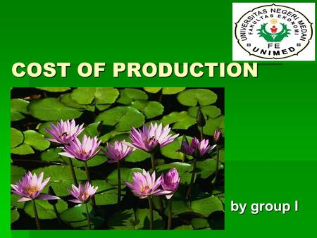 COST OF PRODUCTION by group I.