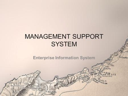 MANAGEMENT SUPPORT SYSTEM Enterprise Information System.