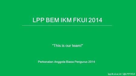 "LPP BEM IKM FKUI 2014 ""This is our team!"""