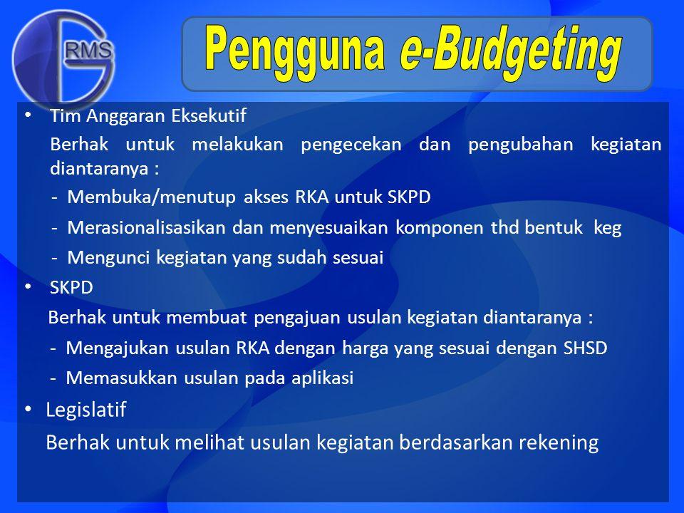 e-Budgeting Proses Penyusunan APBD - SSH - HSPK - ASB eCity Planning Bank data usulan proyek (musrenbang), Alokasi & lokasi proyek ber-id basis GIS 5 th terakhir Survey Data Harga Pasar Standar Nasional Indonesia (SNI) Study Historical Baseline Satker mengerjakan - Usulan Anggaran dari Kantor masing2, - Data Harga ber-id, - Lokasi Kegiatan/Proyek ber-id APBD Keyword : Biaya ter-standar, Konsolidasi Data & Kecepatan https://budgeting.surabaya.go.id/