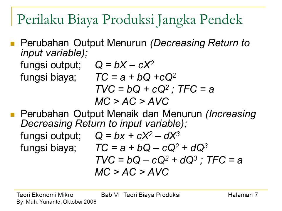 Teori Ekonomi Mikro Bab VI Teori Biaya Produksi Halaman 8 By: Muh.