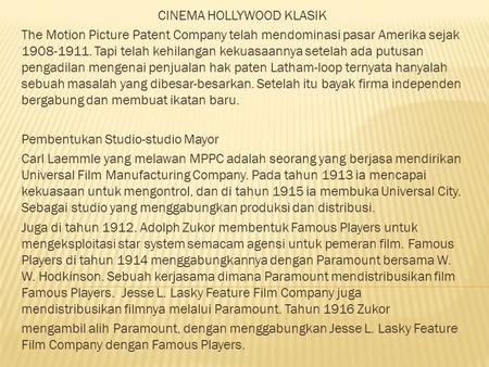 CINEMA HOLLYWOOD KLASIK