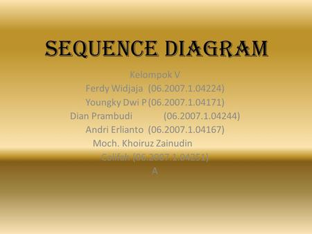 SEQUENCE DIAGRAM Kelompok V Ferdy Widjaja ( )