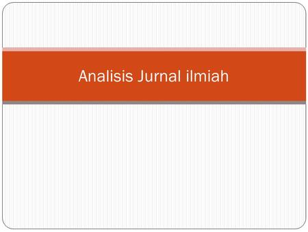 Analisis Jurnal ilmiah