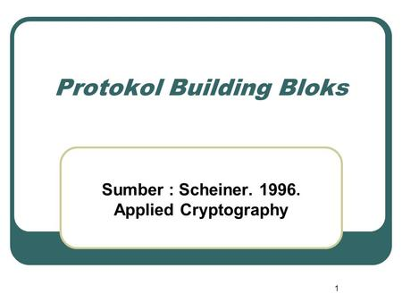 1 Protokol Building Bloks Sumber : Scheiner. 1996. Applied Cryptography.