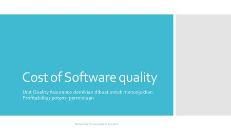 Cost of Software quality