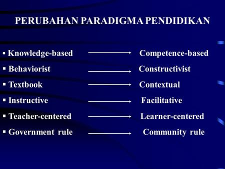 PERUBAHAN PARADIGMA PENDIDIKAN  Knowledge-based Competence-based  Behaviorist Constructivist  Textbook Contextual  Instructive Facilitative  Teacher-centered.