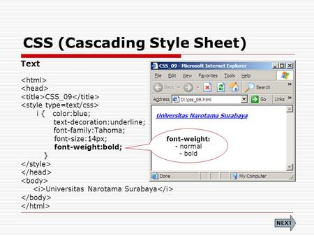 CSS (Cascading Style Sheet) Text CSS_09 i { color:blue; text-decoration:underline; font-family:Tahoma; font-size:14px; font-weight:bold; } Universitas.
