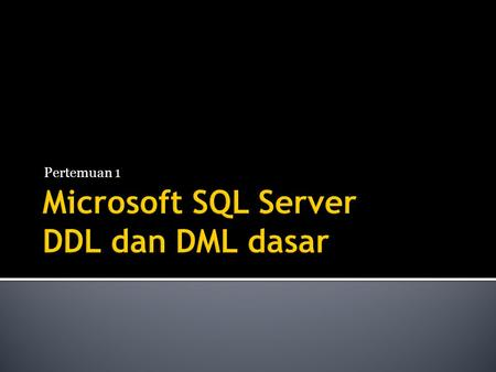 Pertemuan 1.  SQL  Structured Query Language  MSSQL  Microsoft SQL Server.