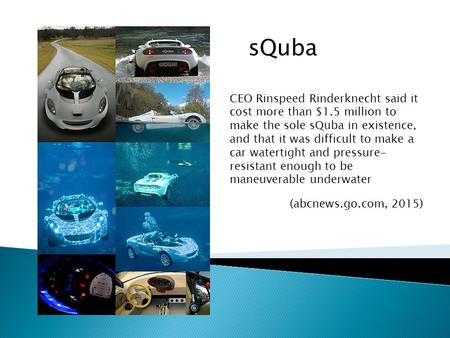 SQuba CEO Rinspeed Rinderknecht said it cost more than $1.5 million to make the sole sQuba in existence, and that it was difficult to make a car watertight.