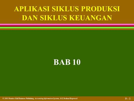  2001 Prentice Hall Business Publishing, Accounting Information Systems, 8/E, Bodnar/Hopwood 9 - 1 BAB 10 APLIKASI SIKLUS PRODUKSI DAN SIKLUS KEUANGAN.