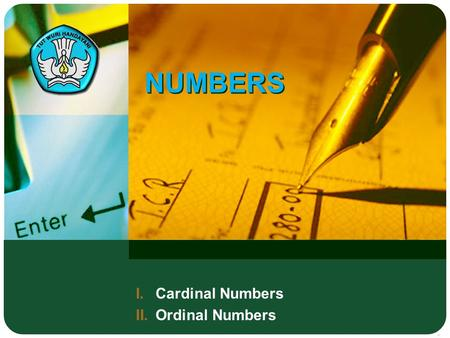 Cardinal Numbers Ordinal Numbers