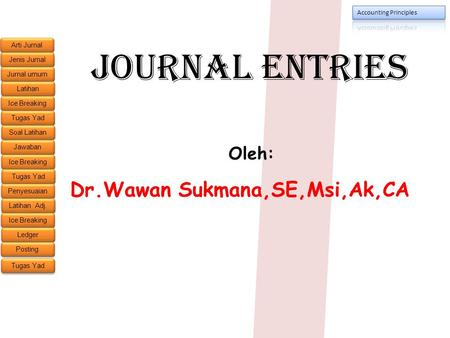 Journal Entries Oleh: Dr.Wawan Sukmana,SE,Msi,Ak,CA.
