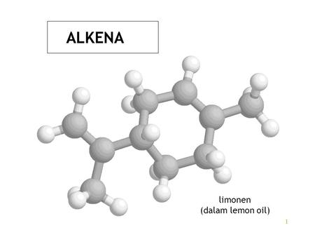 1 ALKENA limonen (dalam lemon oil). 2 Alkane:C n H 2n+2 hidrokarbon jenuh (saturated) Alkena:C n H 2n hidrokarbon tak jenuh (unsaturated) etena (etilena)