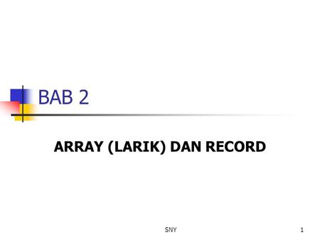 ARRAY (LARIK) DAN RECORD