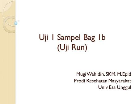 Uji 1 Sampel Bag 1b (Uji Run)