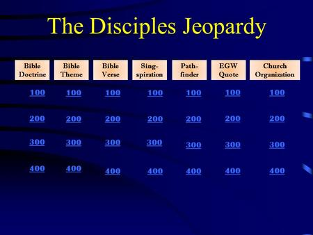 The Disciples Jeopardy Bible Doctrine 400 100 200 300 400 100 200 300 Bible Theme Bible Verse Sing- spiration Path- finder EGW Quote Church Organization.