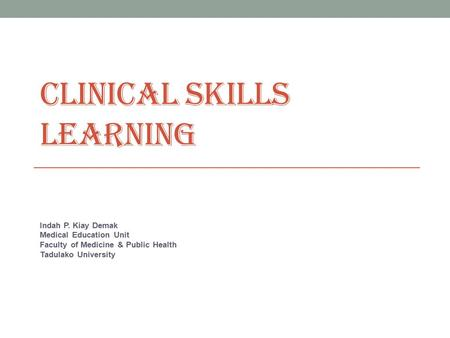 Clinical Skills Learning