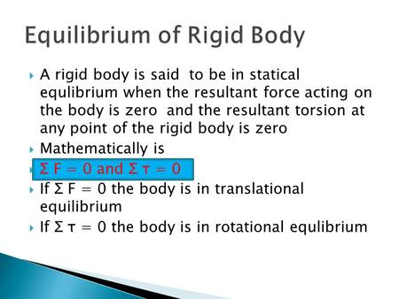 Equilibrium of Rigid Body