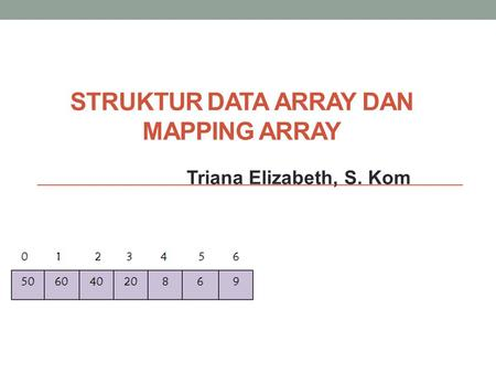 STRUKTUR DATA ARRAY DAN MAPPING ARRAY Triana Elizabeth, S. Kom.
