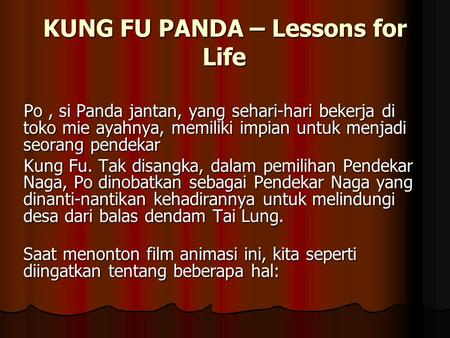 KUNG FU PANDA – Lessons for Life