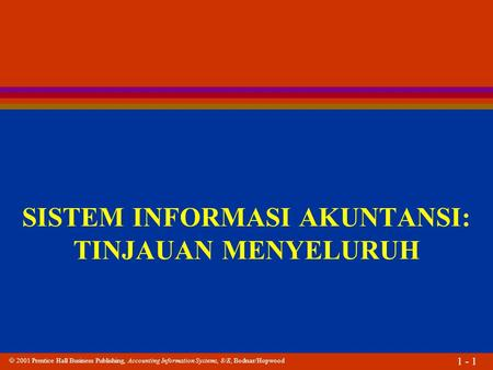  2001 Prentice Hall Business Publishing, Accounting Information Systems, 8/E, Bodnar/Hopwood 1 - 1 SISTEM INFORMASI AKUNTANSI: TINJAUAN MENYELURUH.
