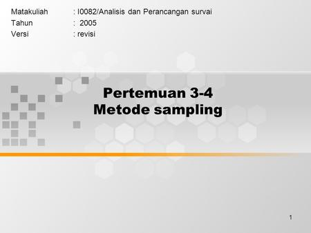 Pertemuan 3-4 Metode sampling