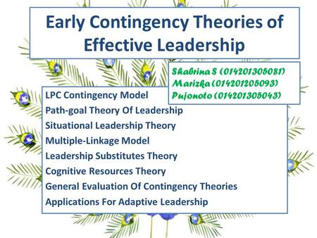 Early Contingency Theories of Effective Leadership LPC Contingency Model Path-goal Theory Of Leadership Situational Leadership Theory Multiple-Linkage.