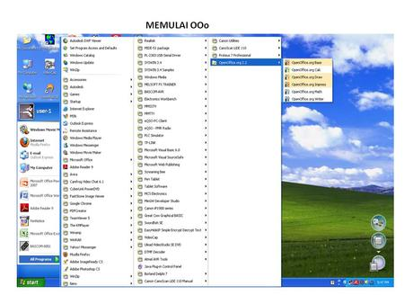 MEMULAI OOo. Toolbar: 1.New23. data source 2.Open24. Nonprinting character 3.Save25. Zoom 4.Document as Email26. OpenOffice.org Help 5.Edit File27. Styles.