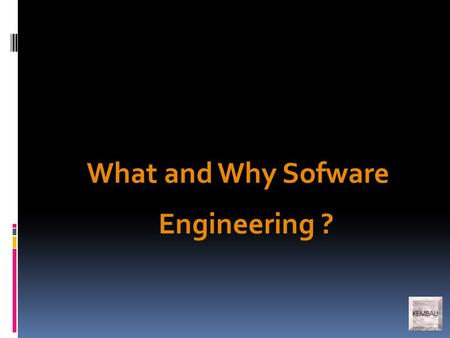 What and Why Sofware Engineering ?