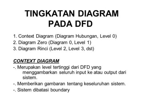 TINGKATAN DIAGRAM PADA DFD 1. Context Diagram (Diagram Hubungan, Level 0) 2. Diagram Zero (Diagram 0, Level 1) 3. Diagram Rinci (Level 2, Level 3, dst)