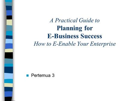 A Practical Guide to Planning for E-Business Success How to E-Enable Your Enterprise Pertemua 3.