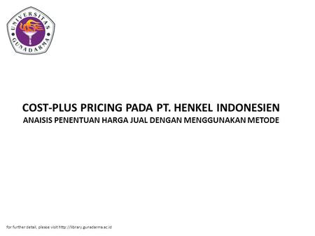 COST-PLUS PRICING PADA PT