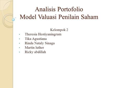 Analisis Portofolio Model Valuasi Penilain Saham