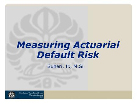 Pasca Sarjana Timur Tengah & Islam Universitas Indonesia 2009 Measuring Actuarial Default Risk Suheri, Ir., M.Si.