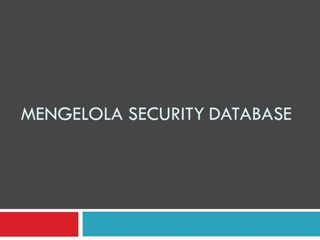 Mengelola Security Database